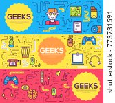 it geeks vector brochure cards... | Shutterstock .eps vector #773731591