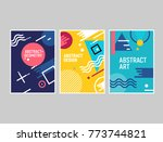 memphis style cards geometric... | Shutterstock .eps vector #773744821