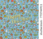 vector christmas and new year... | Shutterstock .eps vector #773744911