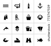 sea icons. vector collection...