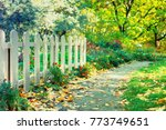 Old White Wooden Fence In A...