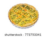 pie with cheese and herbs in... | Shutterstock . vector #773753341