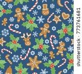 seamless blue christmas pattern ... | Shutterstock .eps vector #773761681