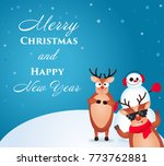 christmas reindeer. cute and... | Shutterstock .eps vector #773762881
