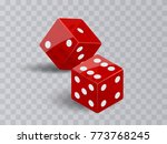 two dice casino gambling. red... | Shutterstock .eps vector #773768245