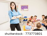 nerdy preschool teacher... | Shutterstock . vector #773773801