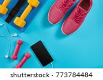 sport shoes  dumbbells and... | Shutterstock . vector #773784484