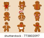 set cute cartoon gingerbread... | Shutterstock .eps vector #773802097