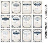 set of vintage frames with beautiful filigree,ornamental border, vector illustration | Shutterstock vector #773803015