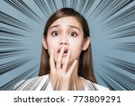 surprised young woman. | Shutterstock . vector #773809291