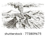 volcano activity with magma ...   Shutterstock .eps vector #773809675