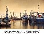 fishing vessels and docks... | Shutterstock . vector #773811097
