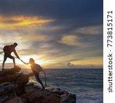 young asian couple climbing up  ... | Shutterstock . vector #773815171