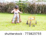 cute asian little girl is... | Shutterstock . vector #773825755