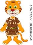 cute tiger cartoon standing... | Shutterstock .eps vector #773827579