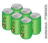 isometric lime soda can six pack | Shutterstock .eps vector #773833651