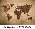 grunge map of the world | Shutterstock . vector #773838484