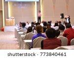 speaker at business conference... | Shutterstock . vector #773840461