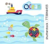 vector cartoon of marine life...   Shutterstock .eps vector #773846455