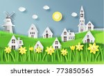 nature landscape with house ...   Shutterstock .eps vector #773850565