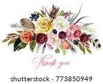 watercolor floral boho bouquet  ... | Shutterstock . vector #773850949