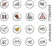 line vector icon set   plane... | Shutterstock .eps vector #773863969