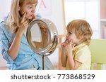 child preschooler boy at speech ...   Shutterstock . vector #773868529