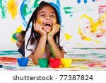 excited girl painting | Shutterstock . vector #77387824
