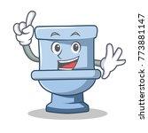 finger toilet character cartoon ... | Shutterstock .eps vector #773881147