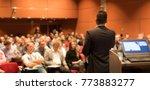 speaker giving a talk on... | Shutterstock . vector #773883277