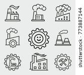 factory vector icons set. black ...   Shutterstock .eps vector #773887144