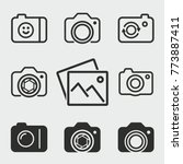 photo vector icons set. black... | Shutterstock .eps vector #773887411