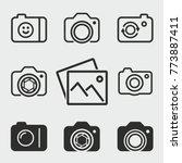 photo vector icons set. black...   Shutterstock .eps vector #773887411