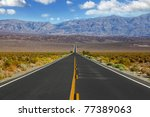 the lonely red car on the road  ... | Shutterstock . vector #77389063