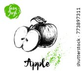 hand drawn sketch apple with... | Shutterstock .eps vector #773897311