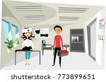 veterinarian in the clinic... | Shutterstock .eps vector #773899651
