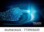 hand touching a glowing spot ... | Shutterstock .eps vector #773903635