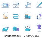 sewing icons in flat colors... | Shutterstock .eps vector #773909161