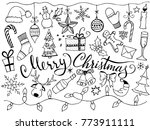 set of christmas typography and ... | Shutterstock .eps vector #773911111
