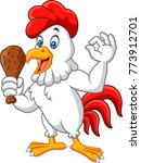 cartoon rooster holding fried... | Shutterstock .eps vector #773912701