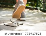 woman at the walk stepped on... | Shutterstock . vector #773917525