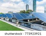 solar and modern city skyline   | Shutterstock . vector #773923921