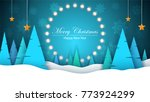 winter cartoon paper landscape. ... | Shutterstock .eps vector #773924299