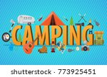 camping lettering concept. big... | Shutterstock .eps vector #773925451
