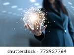 business woman holding circle...   Shutterstock . vector #773927764