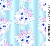 seamless pattern with head of... | Shutterstock .eps vector #773931487