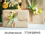 a christmas tree decorated... | Shutterstock . vector #773938945