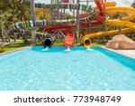 colorful sliders in the water... | Shutterstock . vector #773948749