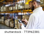 warehouse worker or supervisor... | Shutterstock . vector #773962381