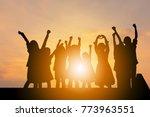 silhouette of happy children... | Shutterstock . vector #773963551